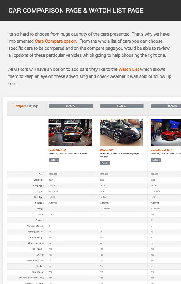 Its so hard to choose from huge quantity of the cars presented. That's why we have implemented Cars Compare option. From the whole list of cars you can choose specific cars to be compared and on the compare page you would be able to review all options of these particular vehicles which going to help choosing the right one. All visitors will have an option to add cars they like to the Watch List which allows them to keep an eye on these advertising and check weather it was sold or follow up on it.